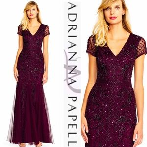 Adrianna Papell Dresses - Adrianna Papell grid floral long beaded dress